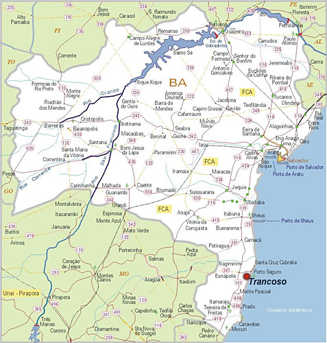 trancoso mapa Trancoso Bahia: Como chegar em Trancoso trancoso mapa